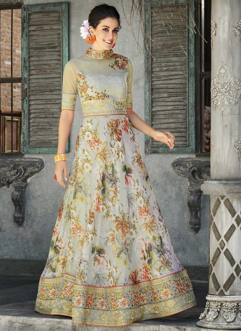 Organza Digital Print Work Readymade Floor Length Gown