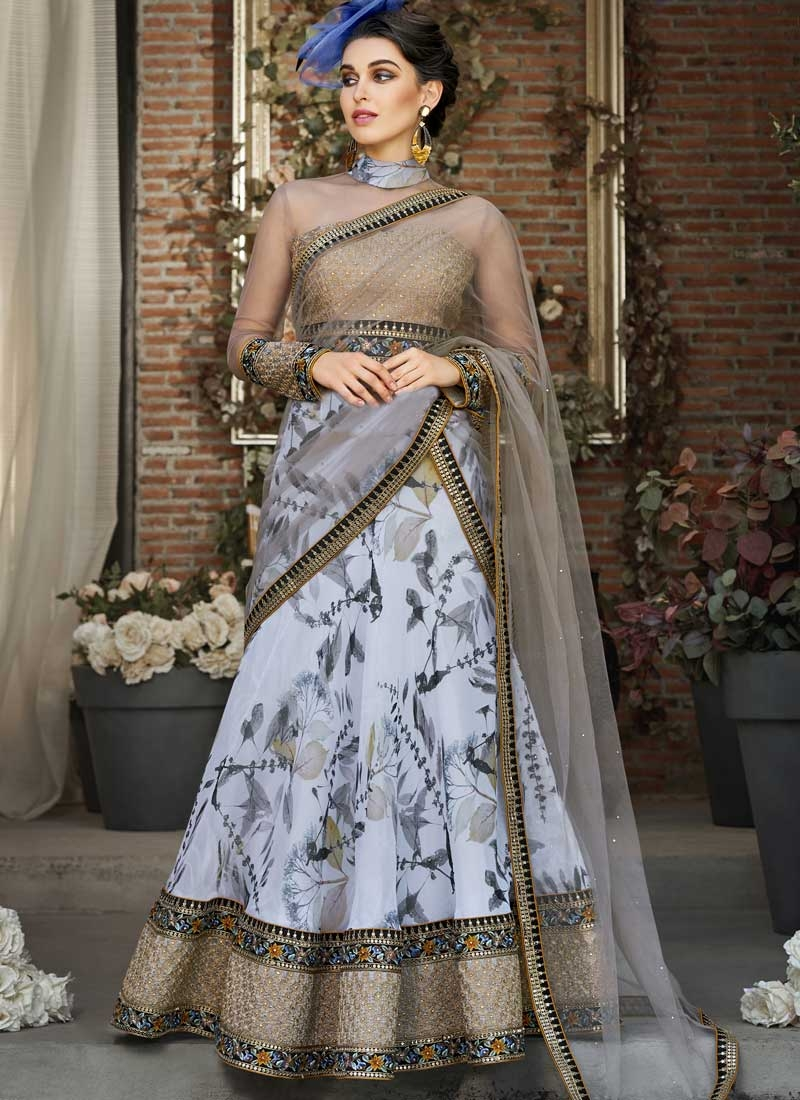 Organza Digital Print Work Readymade Trendy Gown