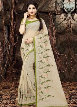 Organza Embroidered Work Contemporary Style Saree