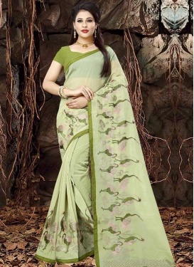 Organza Embroidered Work Designer Contemporary Style Saree