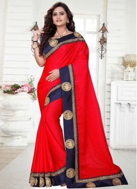 Organza Navy Blue and Red Contemporary Saree