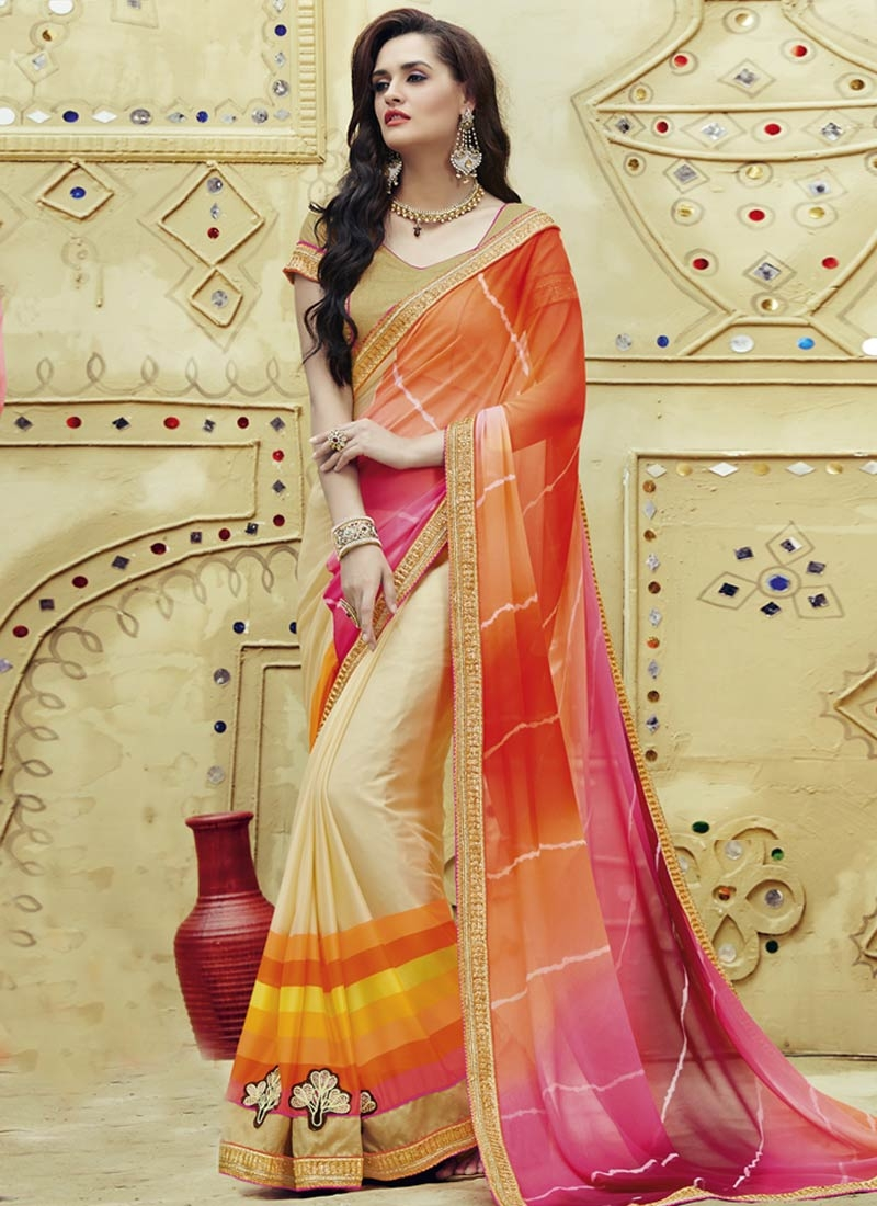 Orphic Booti Work Faux Georgette Half N Half Party Wear Saree