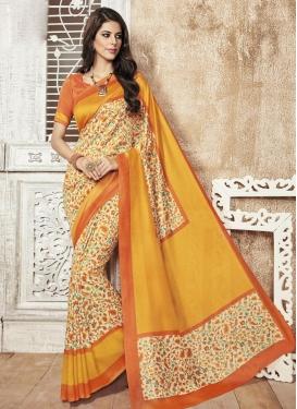 Orphic  Cream and Orange Art Silk Print Work Contemporary Saree