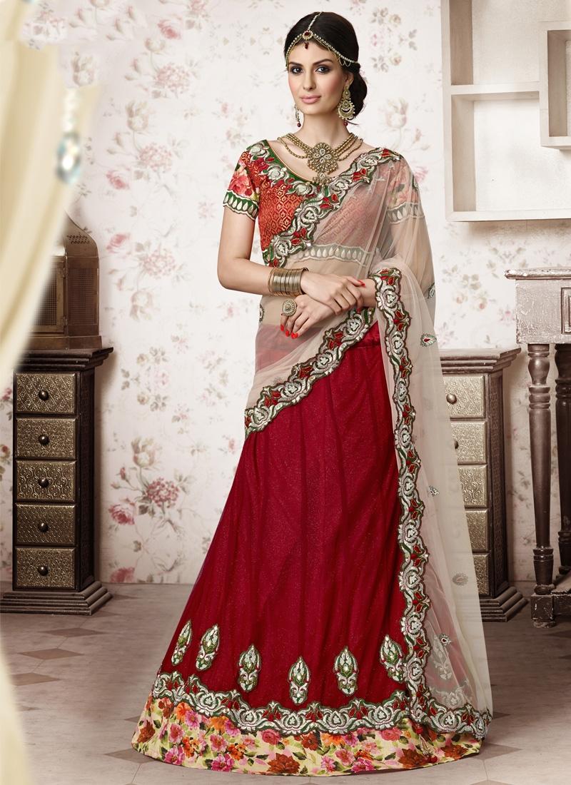 Orphic Crimson Color Net Party Wear Lehenga Choli