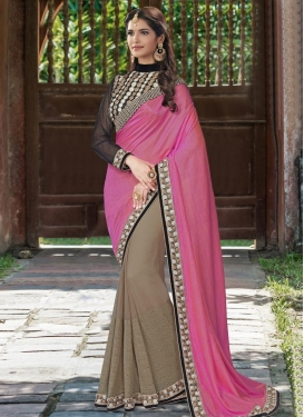 Orphic Embroidered Work Net Brown and Hot Pink Half N Half Saree