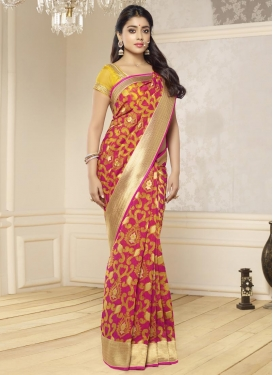 Orphic  Fuchsia and Mustard Lace Work Trendy Classic Saree