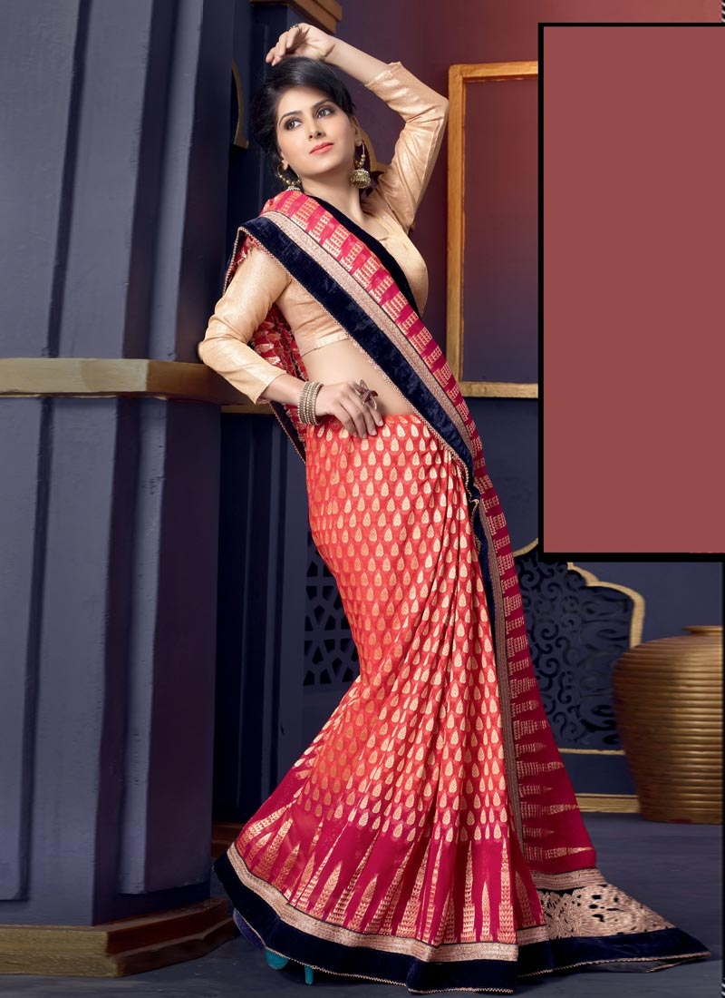 Orphic Patch And Beads Enhanced Wedding Saree