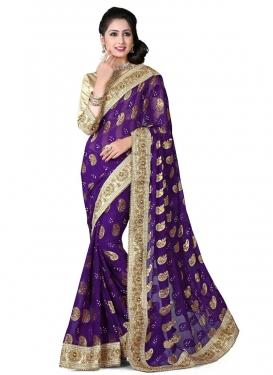 Orphic Purple Color Viscose Designer Saree