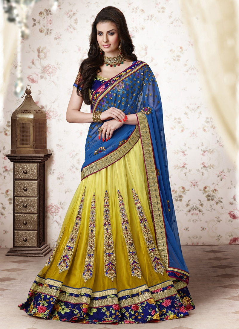 Orphic Yellow And Blue Color Designer Lehenga Choli
