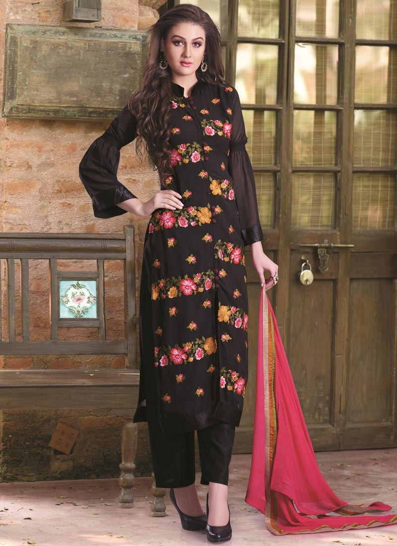Outstanding Black Color Floral Work Pant Style Designer Suit
