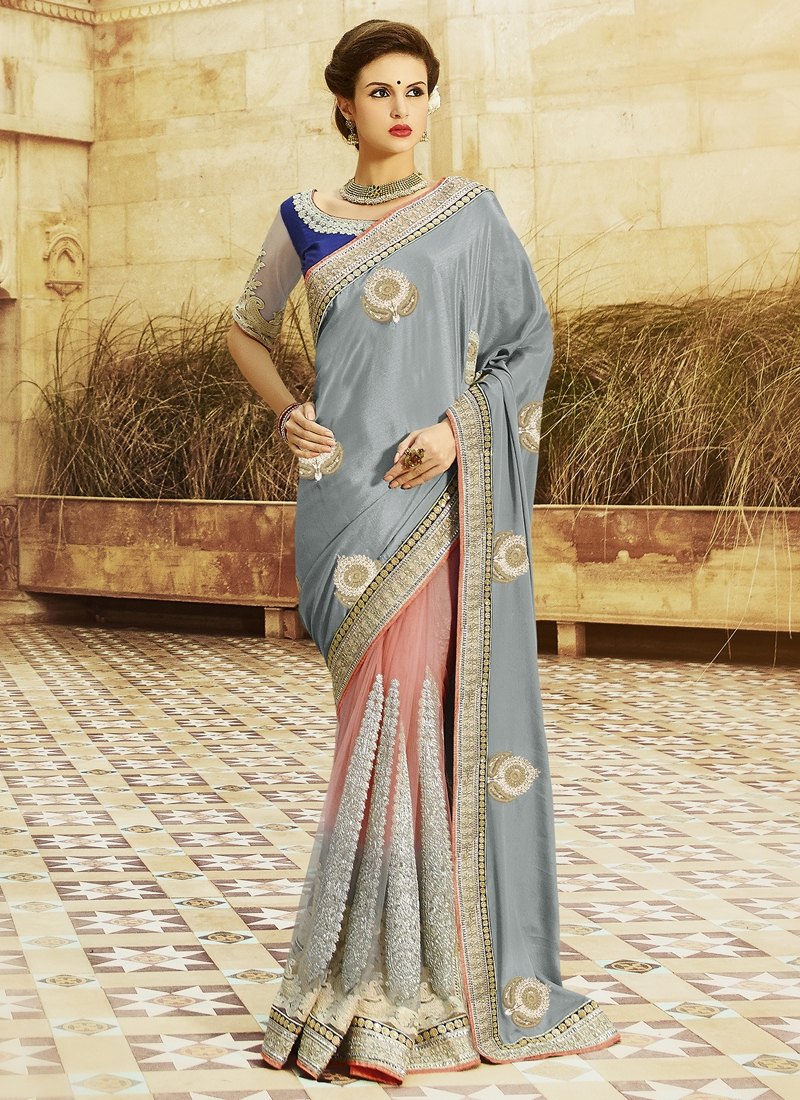 Outstanding Booti And Lace Work Half N Half Designer Saree