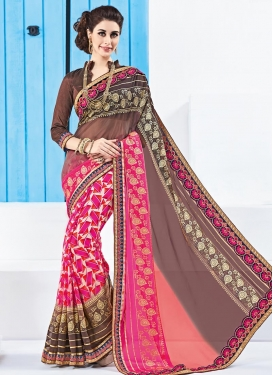 Outstanding Brown and Rose Pink Contemporary Saree For Ceremonial