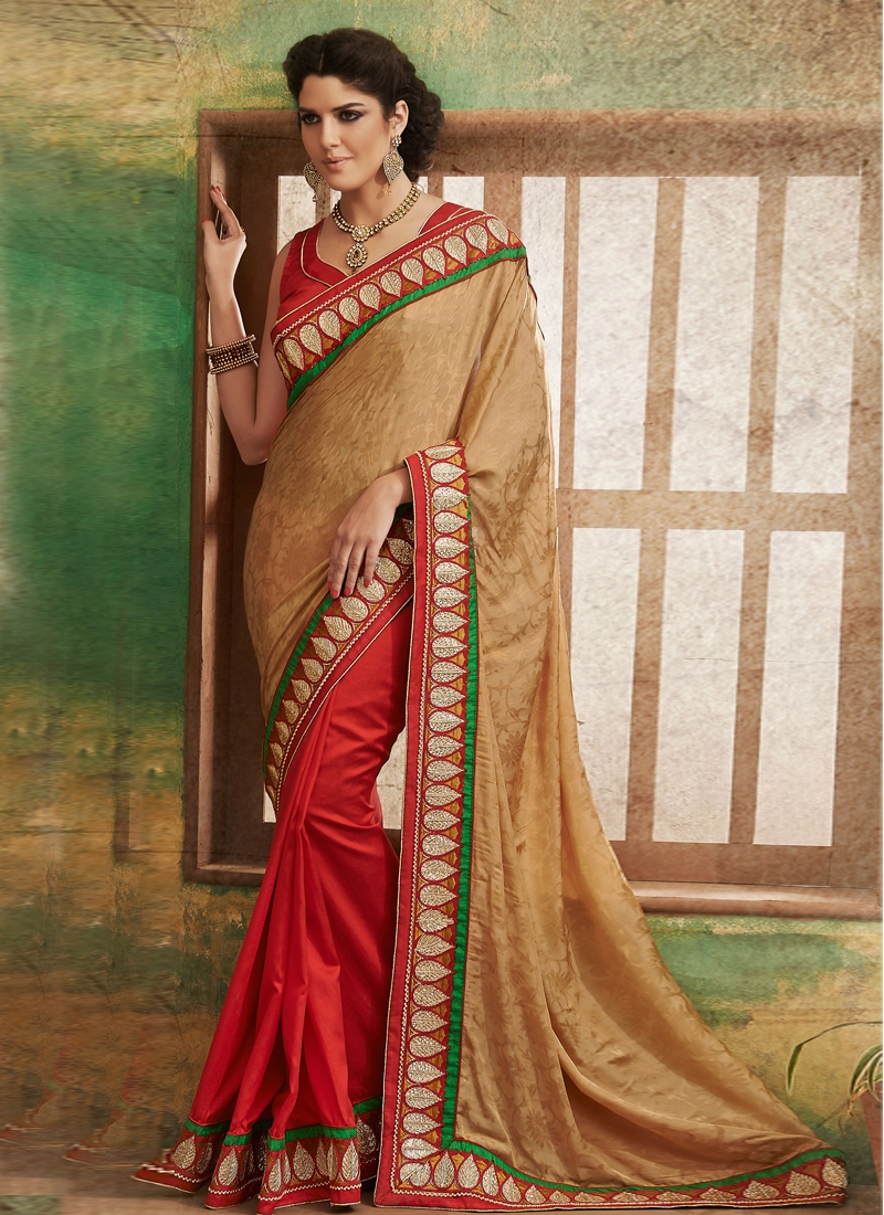 Outstanding Chicken Work Half N Half Saree