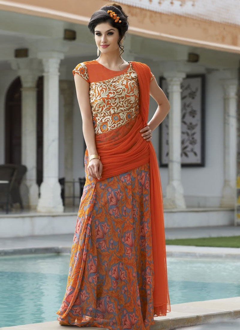 Outstanding Digital Print Work Designer Readymade Gown