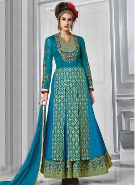 Outstanding  Embroidered Work Blue and Teal Long Length Designer Suit