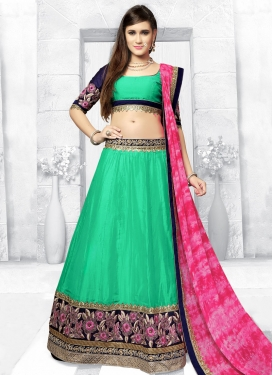 Outstanding Embroidered Work Rose Pink and Turquoise Chanderi Silk Trendy A Line Lehenga Choli