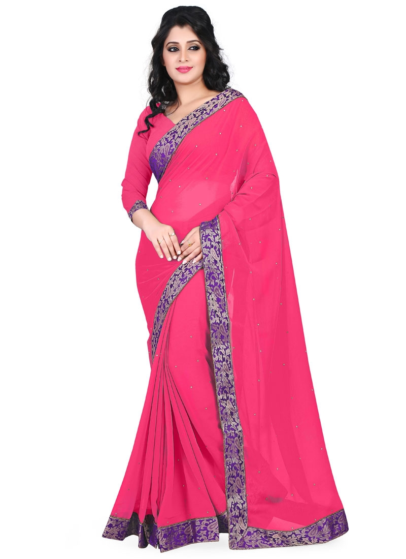 Outstanding Faux Chiffon Rose Pink Color Casual Saree