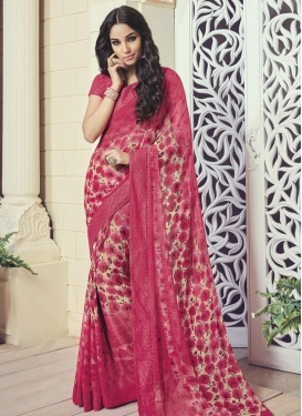 Outstanding Faux Georgette Lace Work Contemporary Saree
