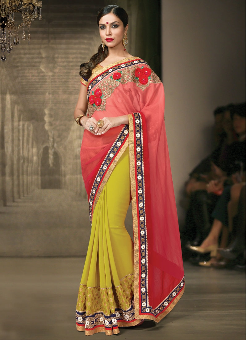 Outstanding Floral And Resham Work Half N Half Designer Saree
