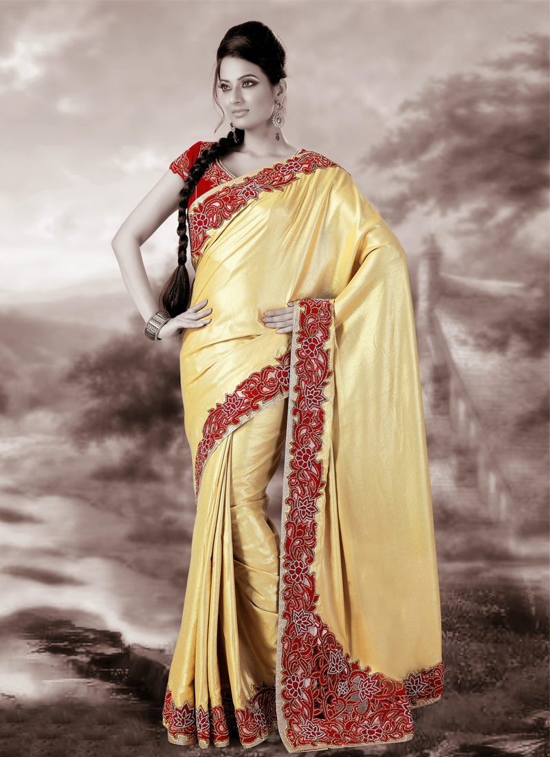 Outstanding Gold Color Banarasi Silk Wedding Saree