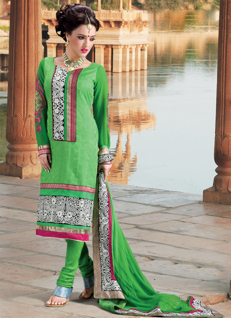 Outstanding Green Churidar Salwar Kameez