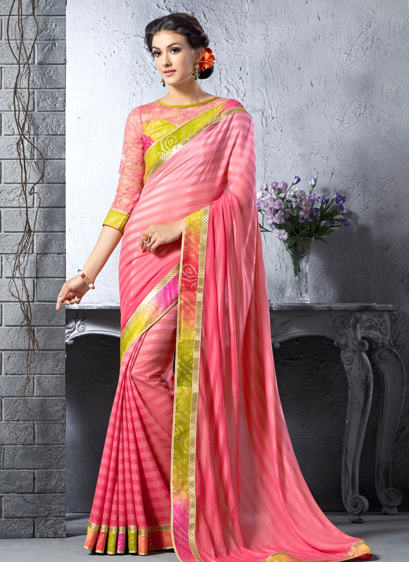 Outstanding Lace Work Art Silk Party Wear Saree