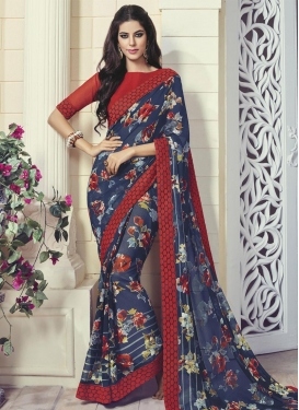 Outstanding  Lace Work Classic Saree For Ceremonial