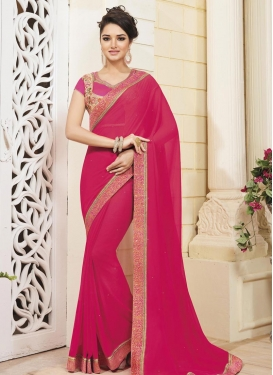 Outstanding Lace Work Faux Georgette Traditional Saree For Ceremonial