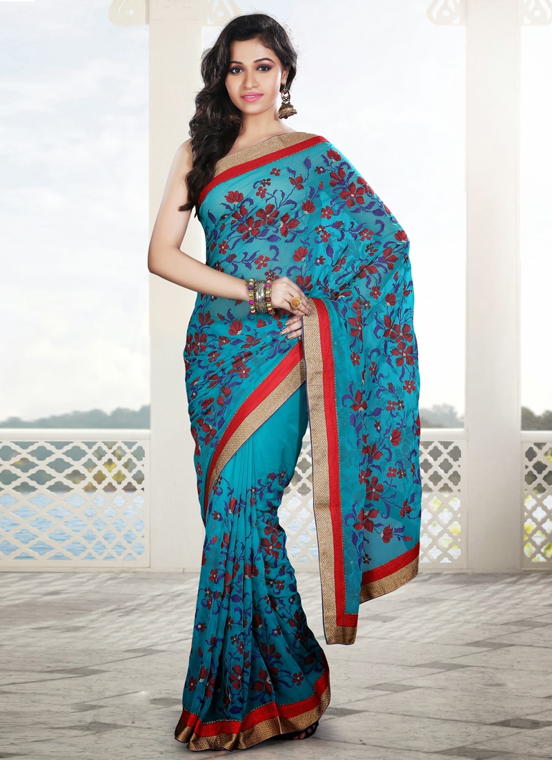 Outstanding Light Blue Party Wear Saree