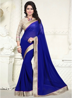 Outstanding Navy Blue Color Faux Georgette Casual Saree
