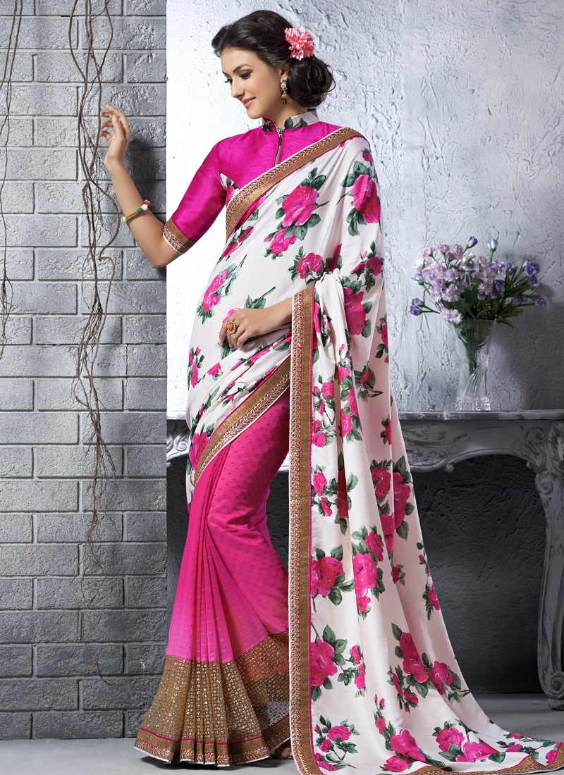 Outstanding Patch Border Work Half N Half Party Wear Saree