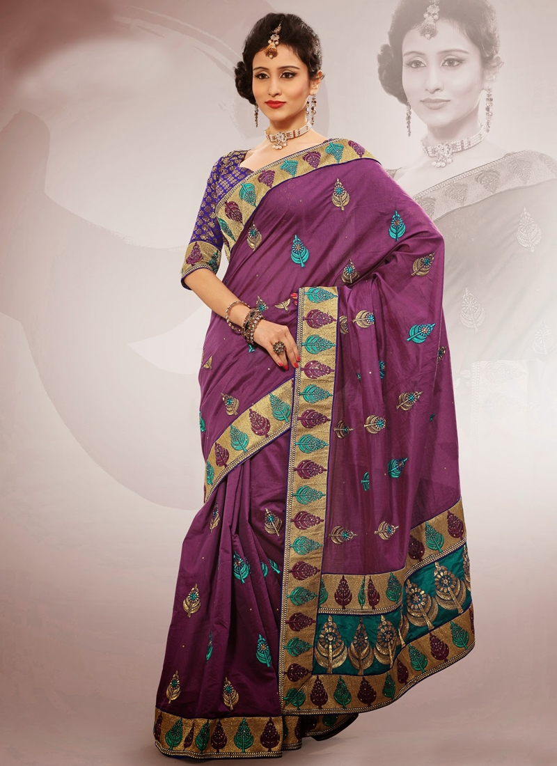 Outstanding Purple Color Party Wear Saree