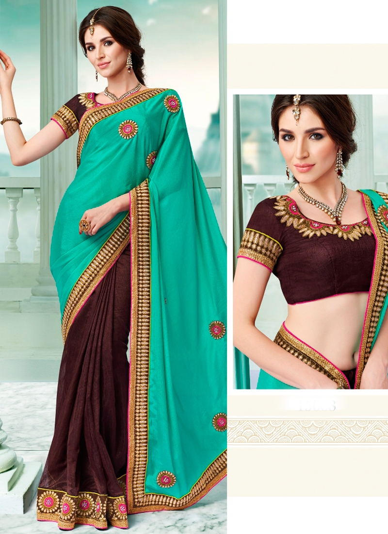 Outstanding Resham Work Half N Half Party Wear Saree