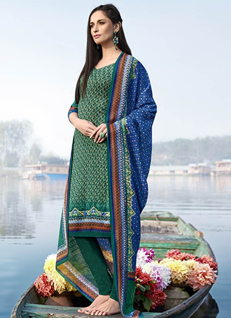 Outstanding Sea Green Color Churidar Salwar Suit
