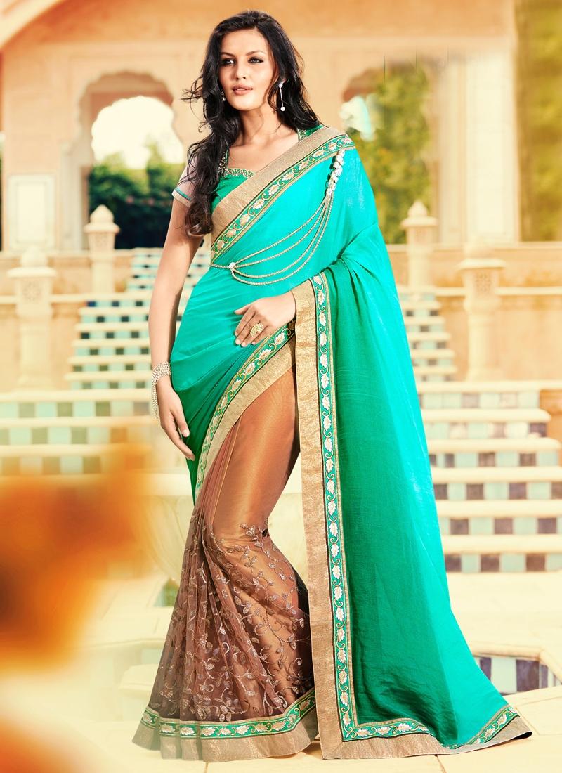 Outstanding Sequins Work Half N Half Designer Saree