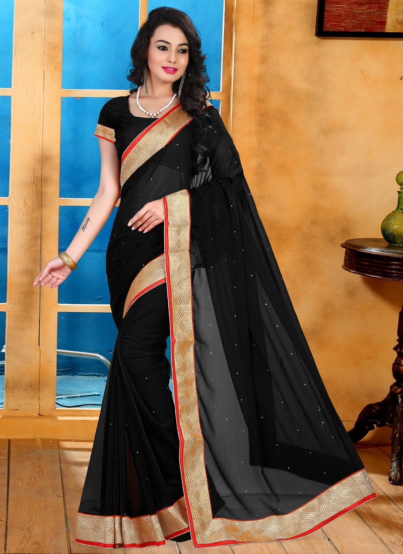Outstanding Stone And Lace Work Casual Saree