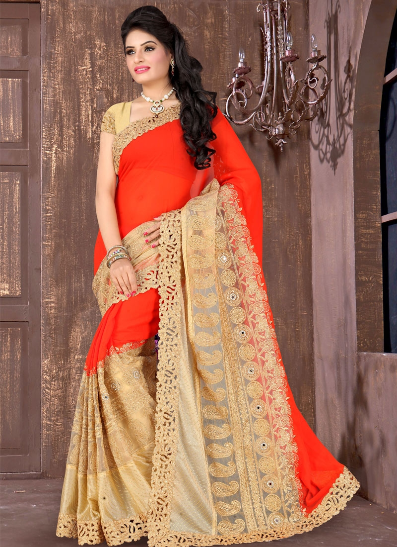 Outstanding Stone Work Faux Georgette Wedding Saree