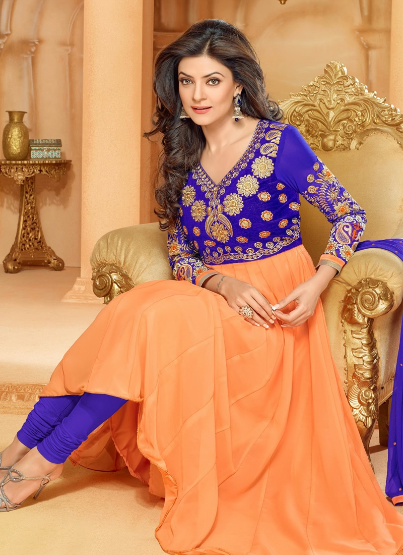Paech And Blue Color Sushmita Sen Bollywood Suit