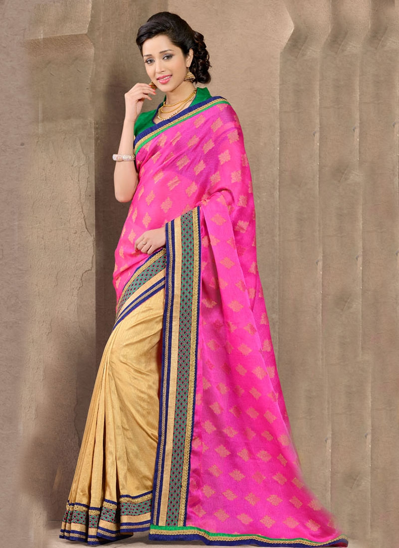 Paramount Beige And Fuchsia Color Half N Half Casual Saree