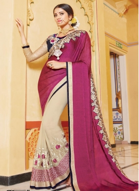 Paramount  Beige and Fuchsia Embroidered Work Half N Half Designer Saree