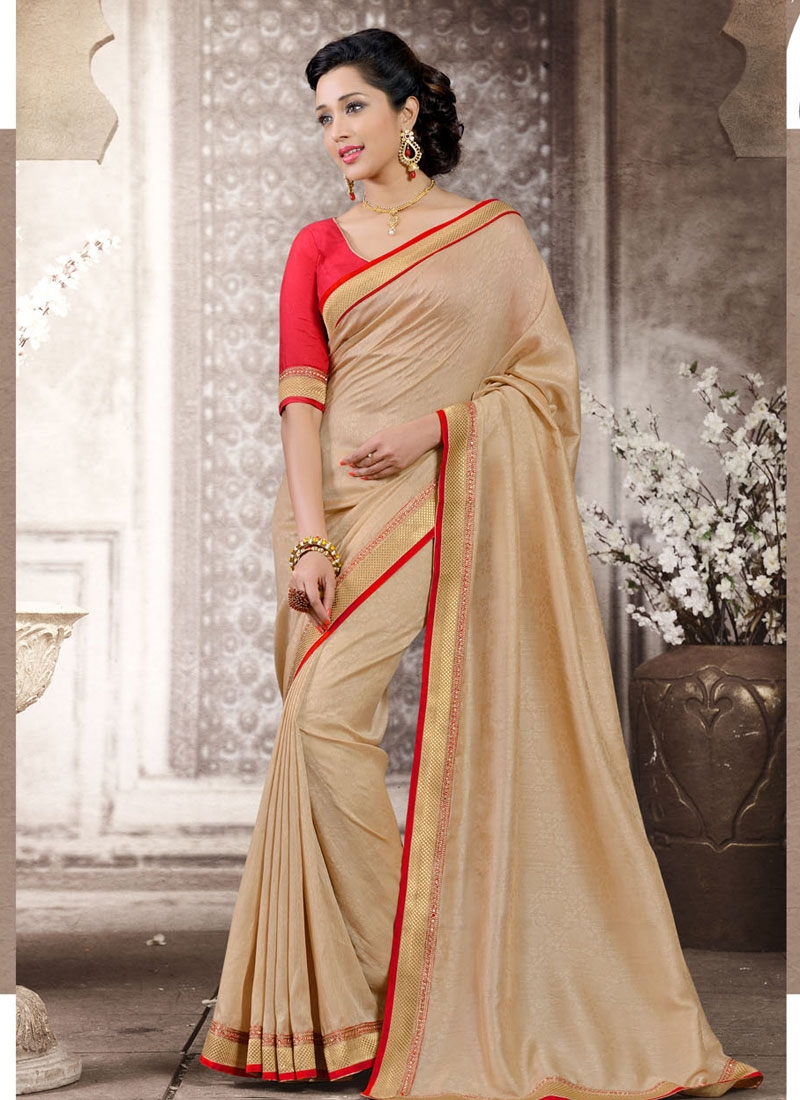 Paramount Beige Color Lace Enhanced Casual Saree