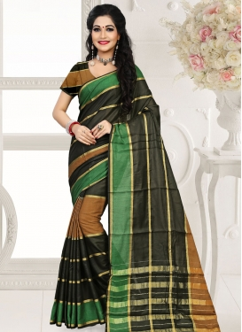 Paramount Black And Brown Color Casual Saree