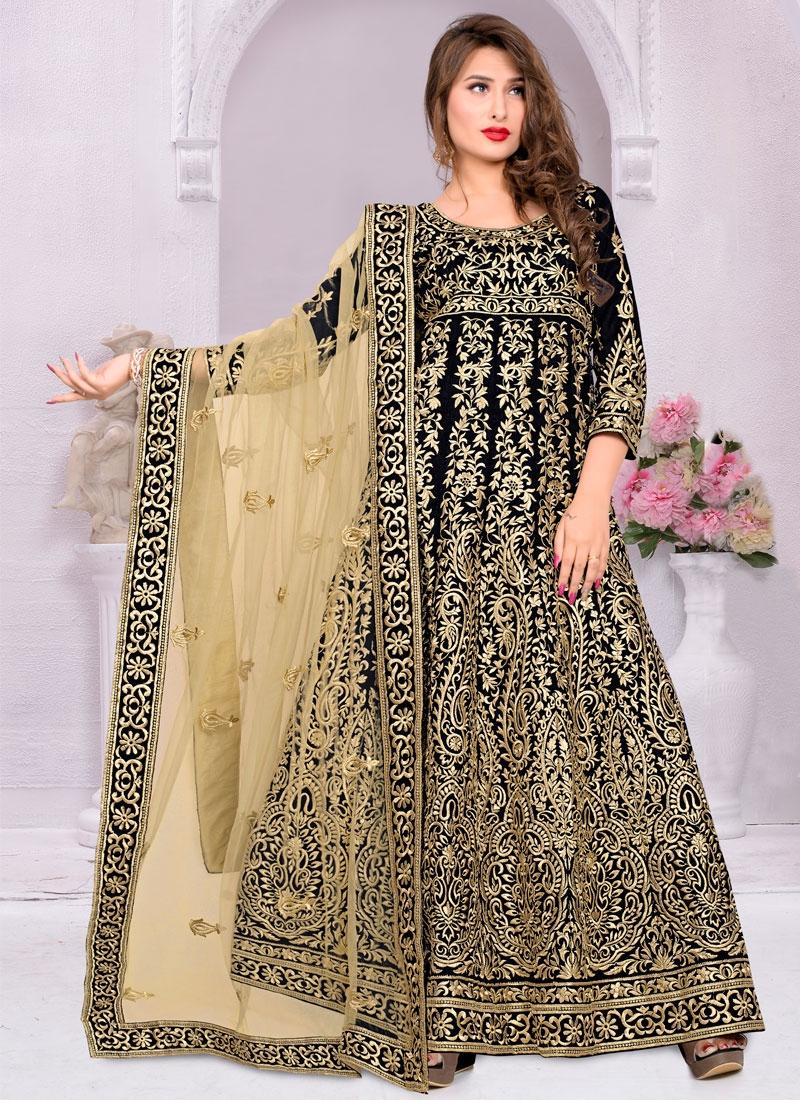 Paramount Black Color Long Length Anarkali Salwar Kameez
