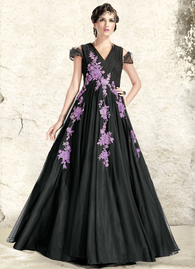 Paramount Black Color Stone Work Designer Readymade Gown