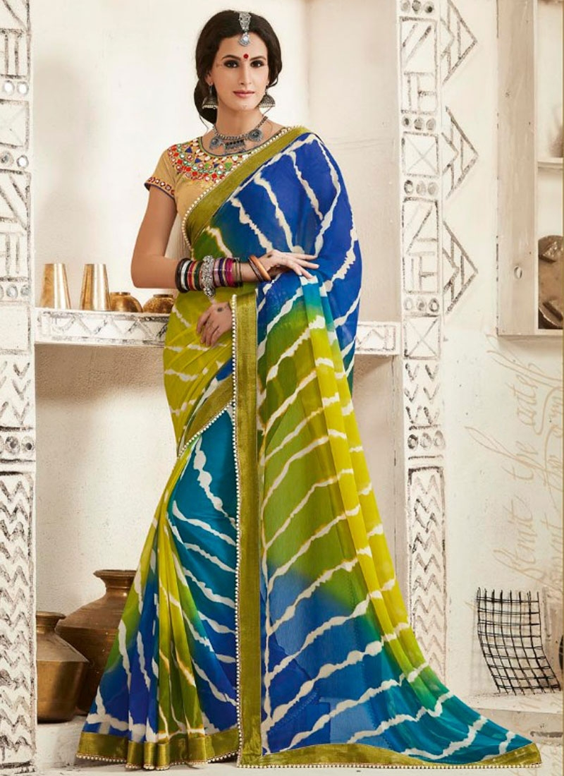 Paramount Blue Color Bandhej Print Work Party Wear Saree