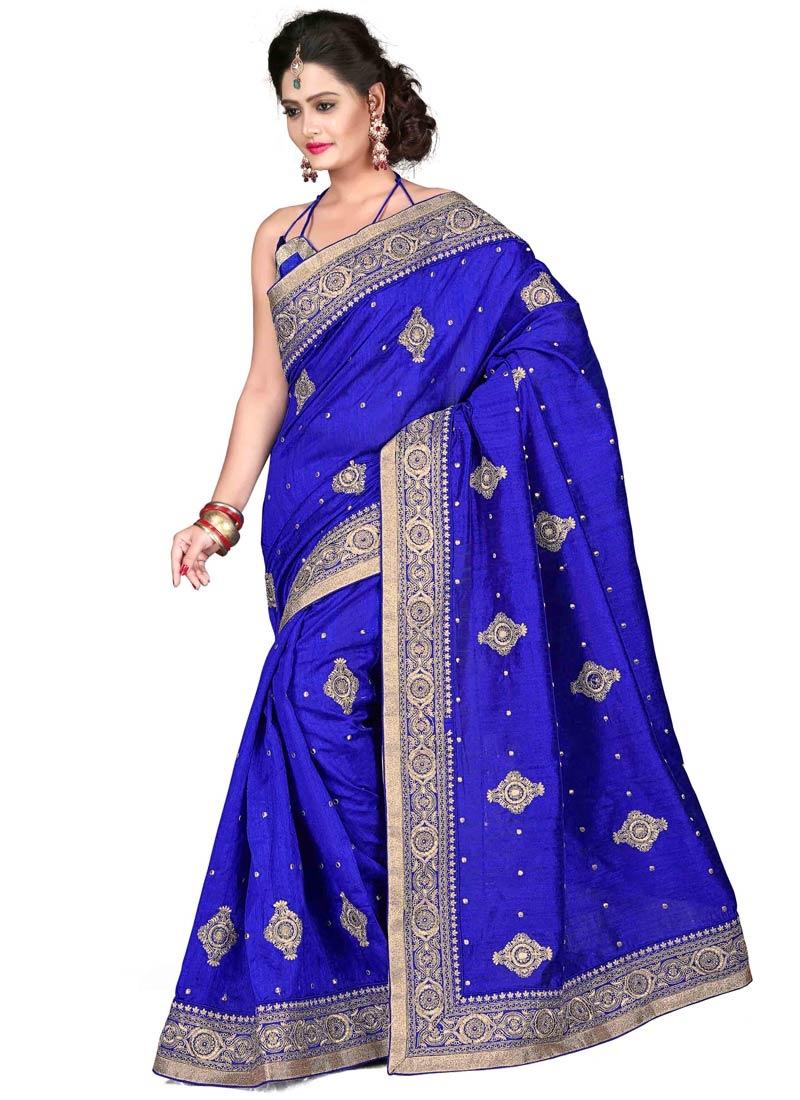 Paramount Blue Color Bhagalpuri Silk Party Wear Saree