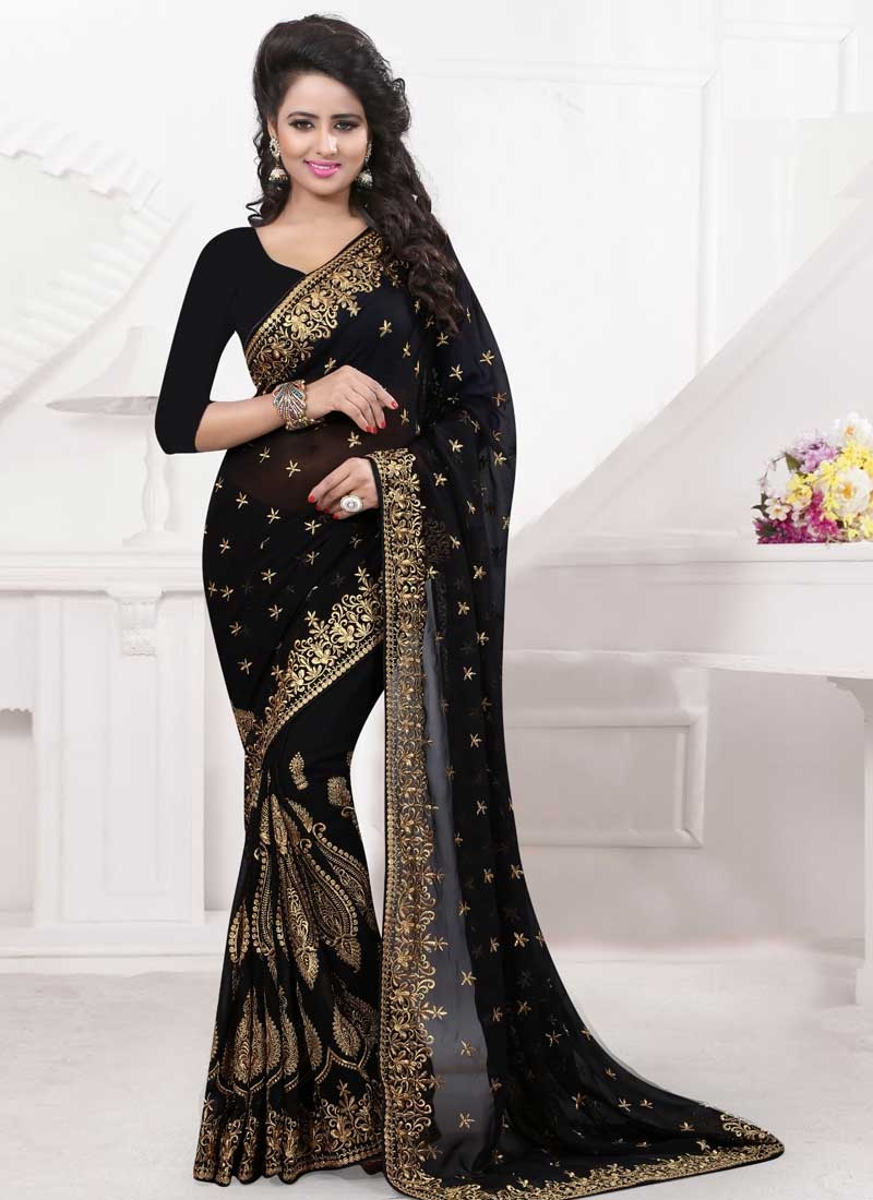 Paramount Booti Work Black Color Designer Saree