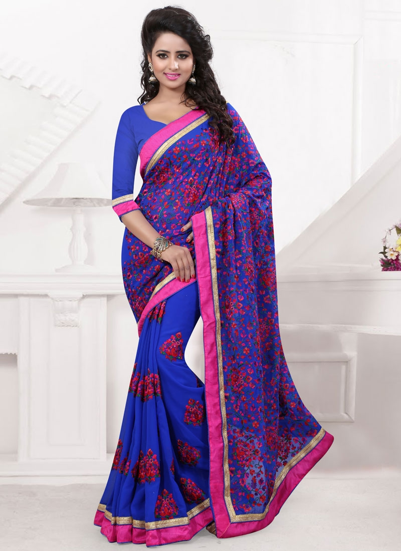 Paramount Booti Work Blue Color Wedding Saree
