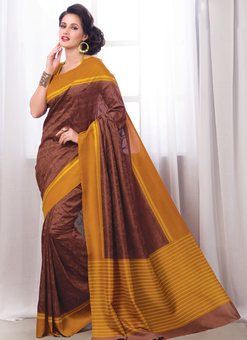 Paramount Brown Color Art Silk Casual Saree