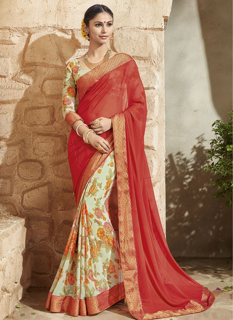 Paramount Digital Print Work Tomato Color Half N Half Party Wear Saree